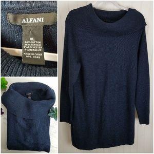 Alfani Midnight Blue & Metallic Cowl Sweater Dress